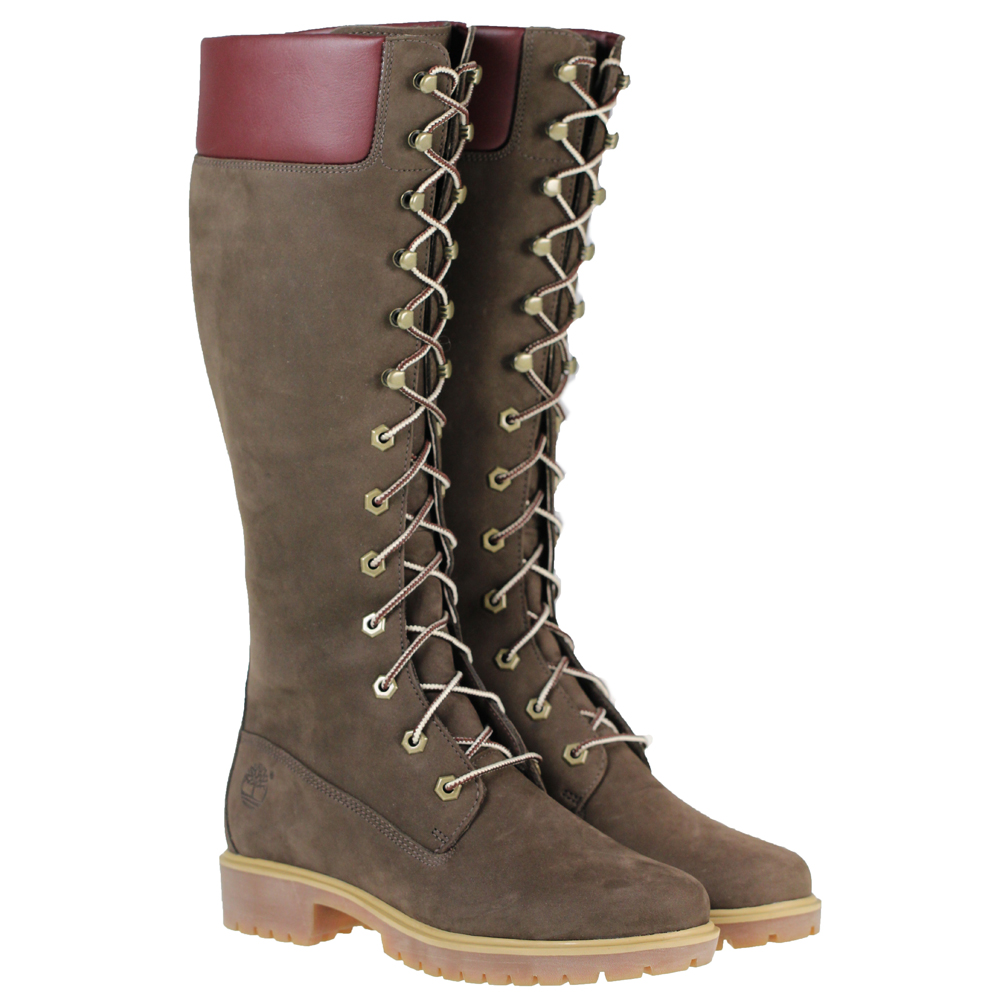 womens timberland 23686 knee high lace brown nubuck