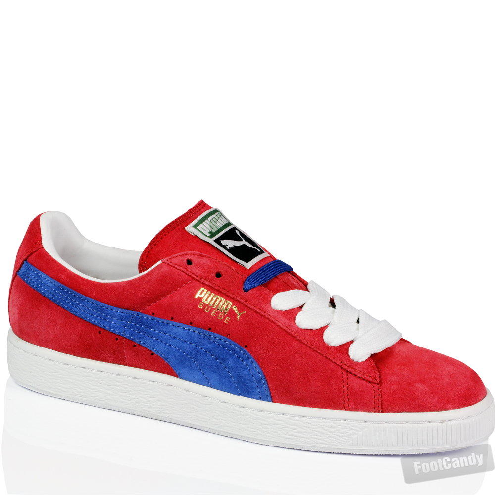 red and blue puma suede shoes