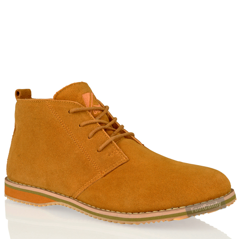 mens casual desert chukka mid lace up ankle flat leather