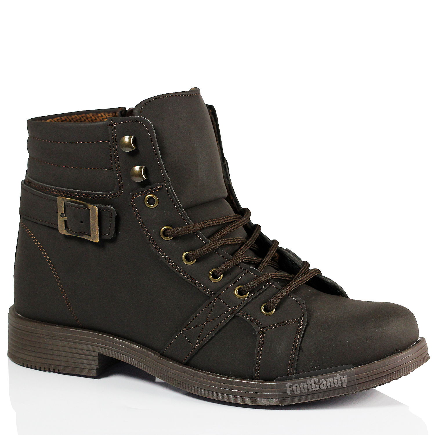 mens casual lace up ankle faux leather mid combat