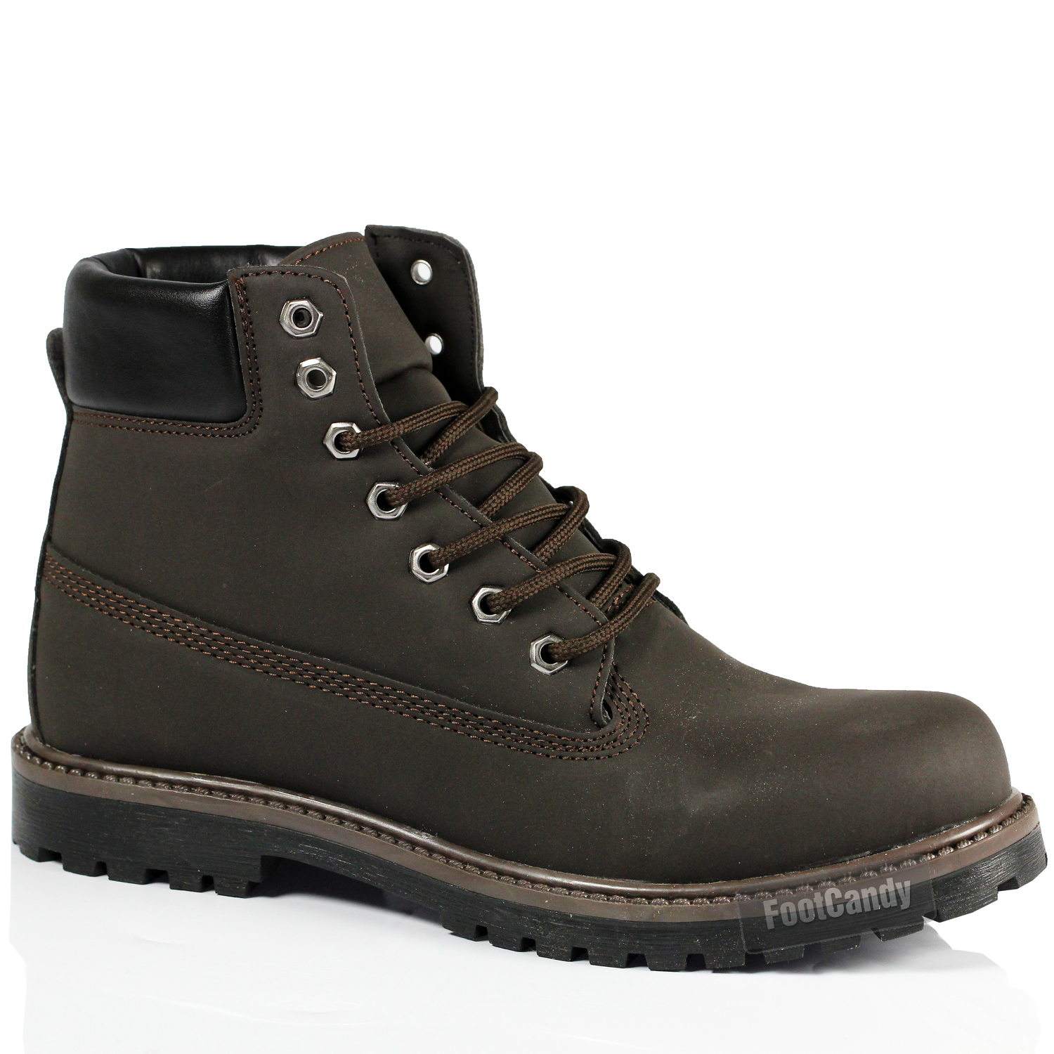 mens black brown outdoor lace walking faux leather ankle