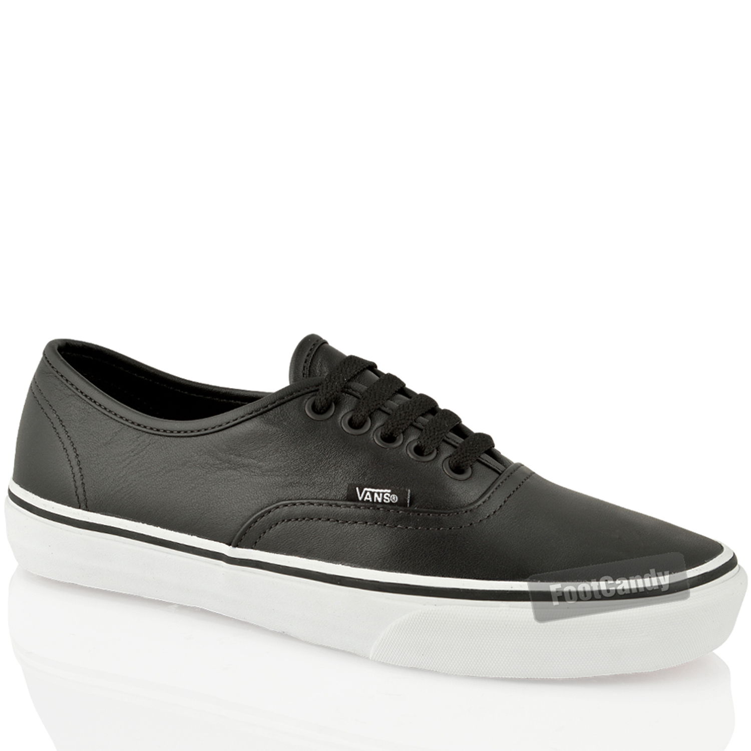 authentic vans mens womens black white leather sneakers