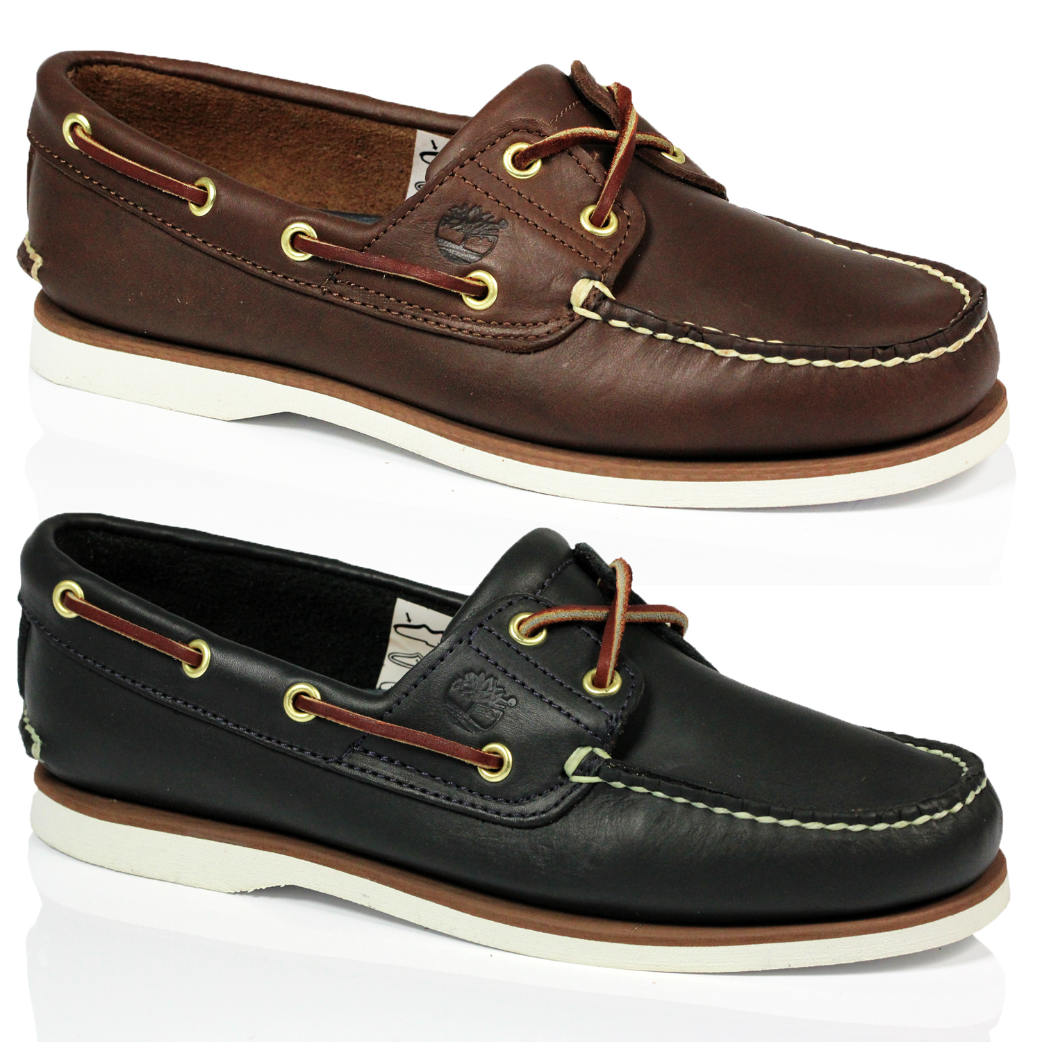 f2678a9364b8 MENS TIMBERLAND 74035 74036 CLASSIC LEATHER 2 EYE LACE UP BOAT SHOES ...