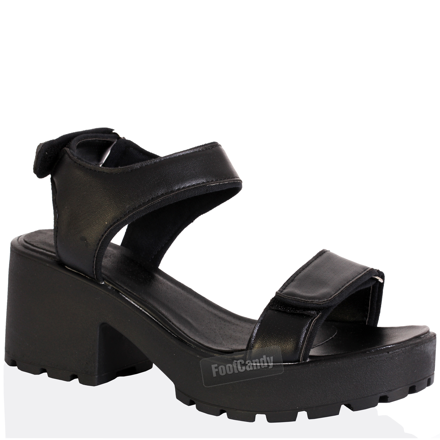 Black Chunky Strap Block Heel Sandals