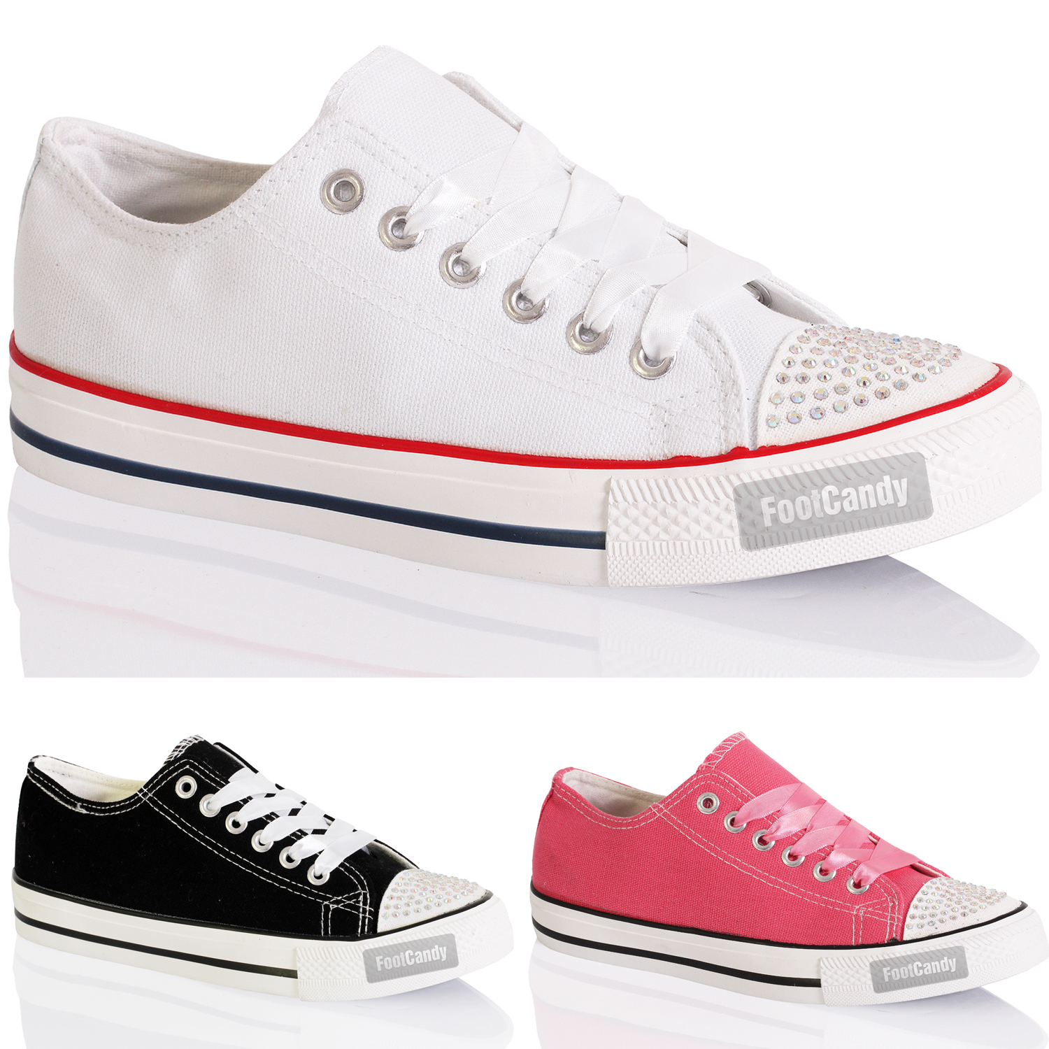 WOMENS-LADIES-CUSTOMISED-LO-TOP-CANVAS-PLIMSOLES-DIAMANTE-TRAINERS-SHOES-SIZE