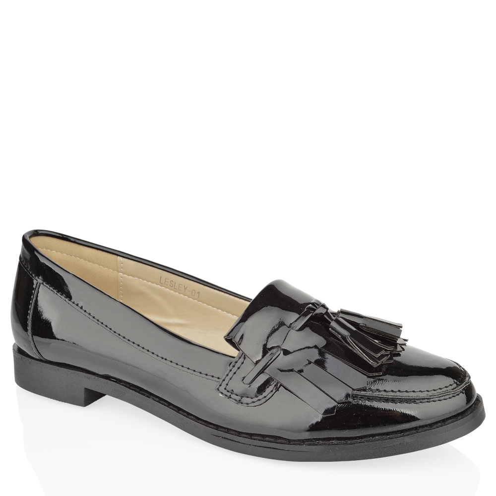 womens flat casual office patent faux leather