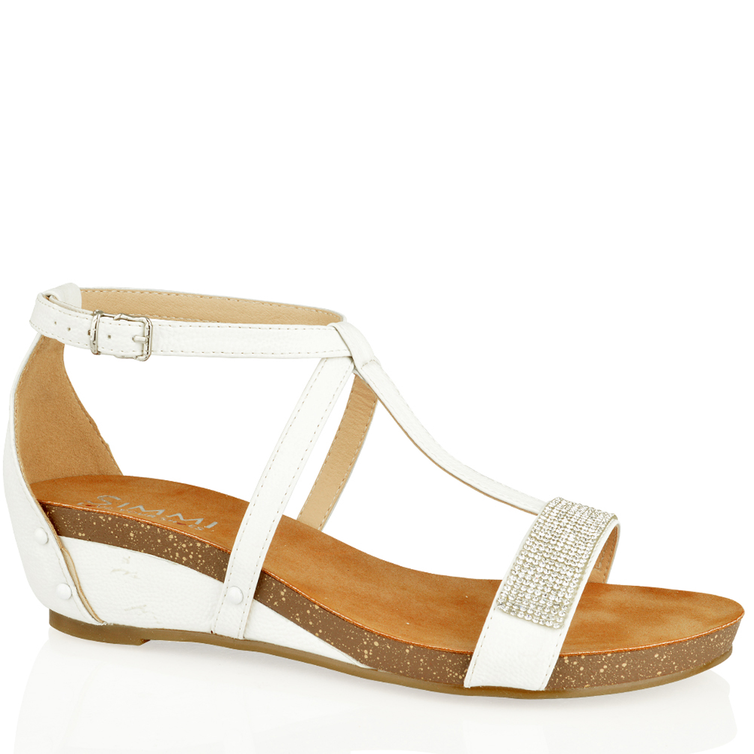 3b928b0b205 White Wedge Heel Sandals - Heels Zone