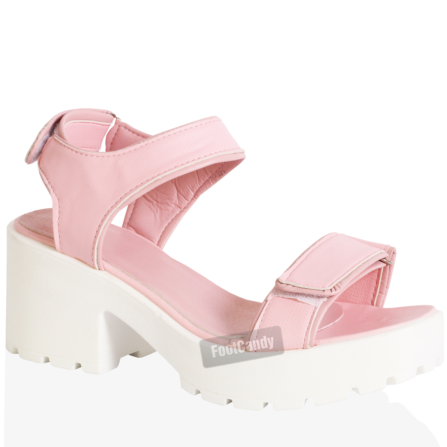 WOMENS-LADIES-BLOCK-HEEL-CHUNKY-THICK-SOLE-ANKLE-VELCRO-STRAP-SANDALS-SIZE