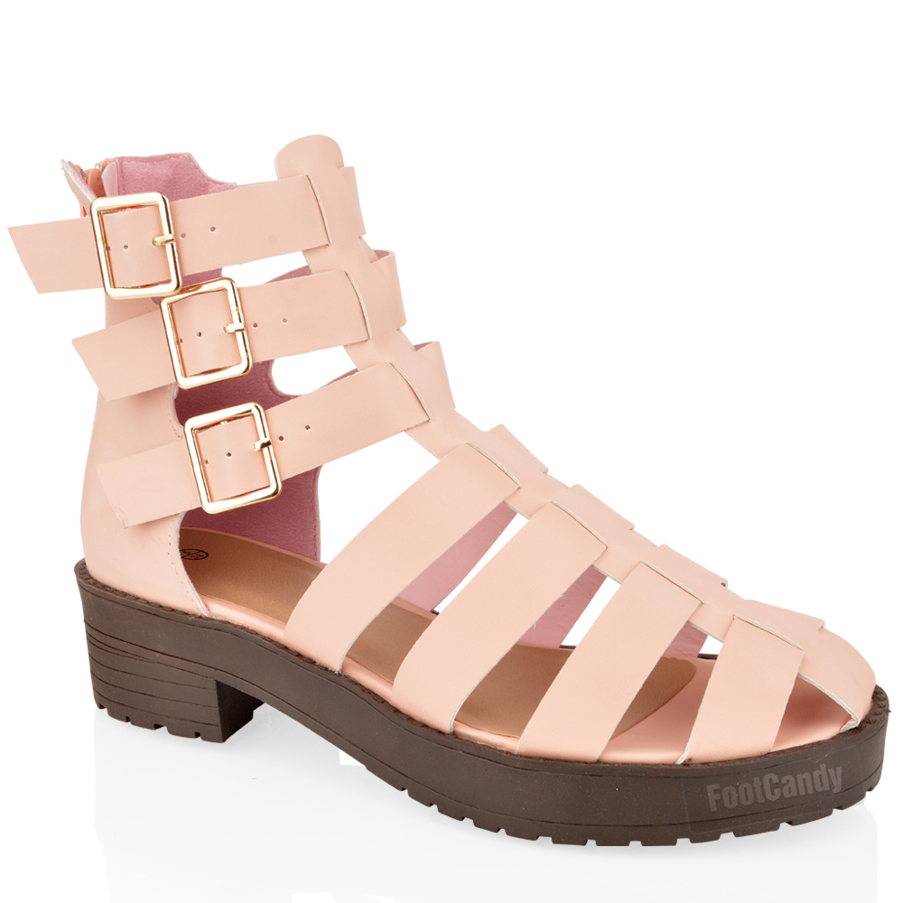 WOMENS-LADIES-CUT-OUT-BLOCK-HEEL-CHUNKY-THICK-SOLE-ANKLE-STRAP-GLADIATOR-SANDALS