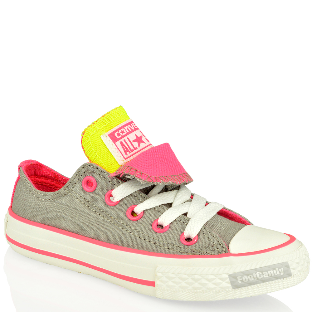 Kids-Converse-Lo-Top-Trainers-Shoes-All-Star-CT-640578-Double-Tongue-Size