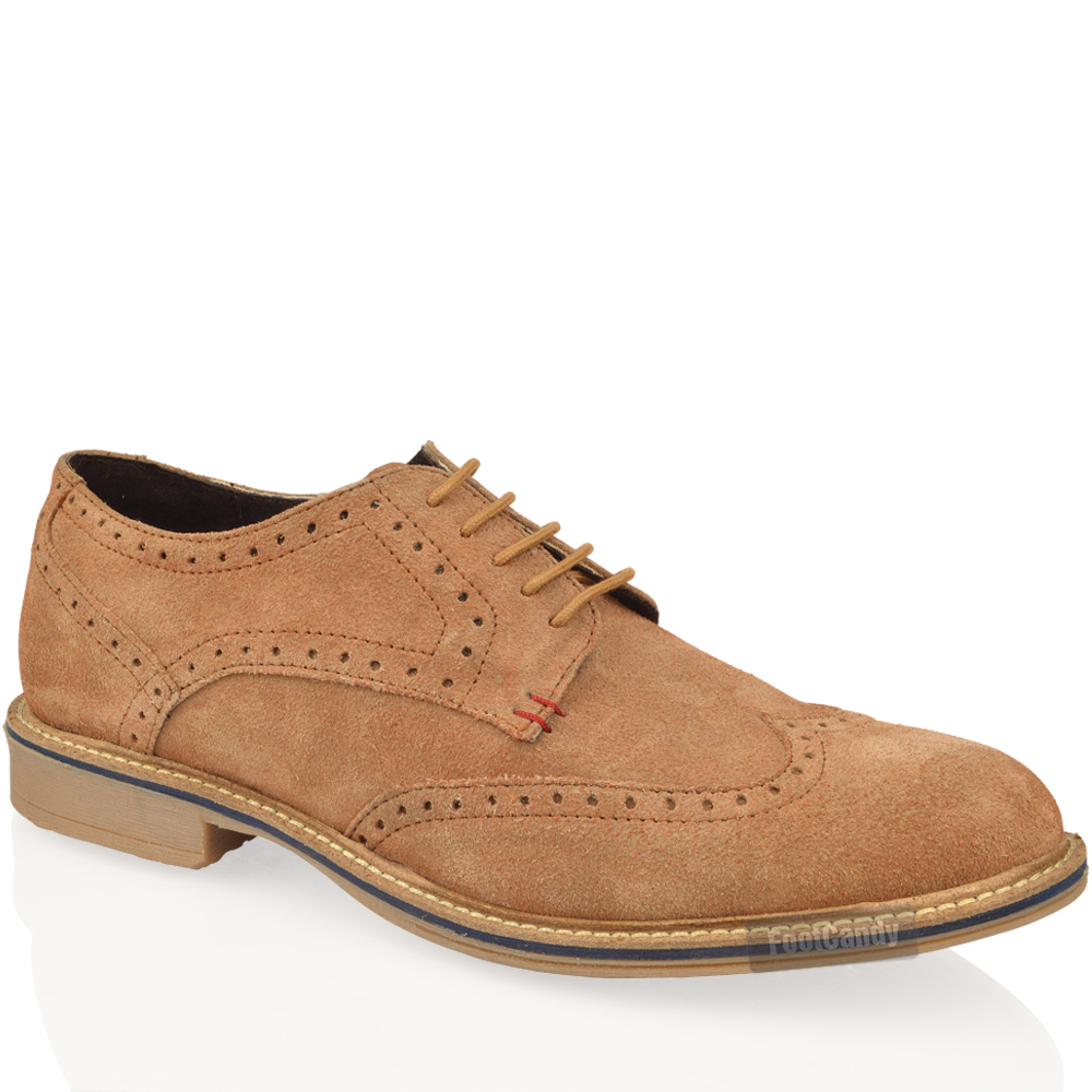 MENS REAL LEATHER SUEDE LACE UP OFFICE SMART VINTAGE BROGUE FORMAL  SHOES SIZE