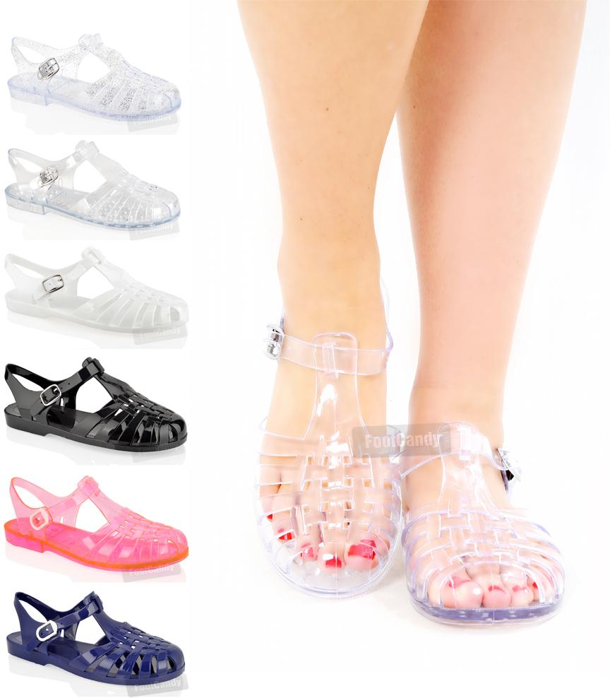 womens flat fashion retro jelly jellies buckle