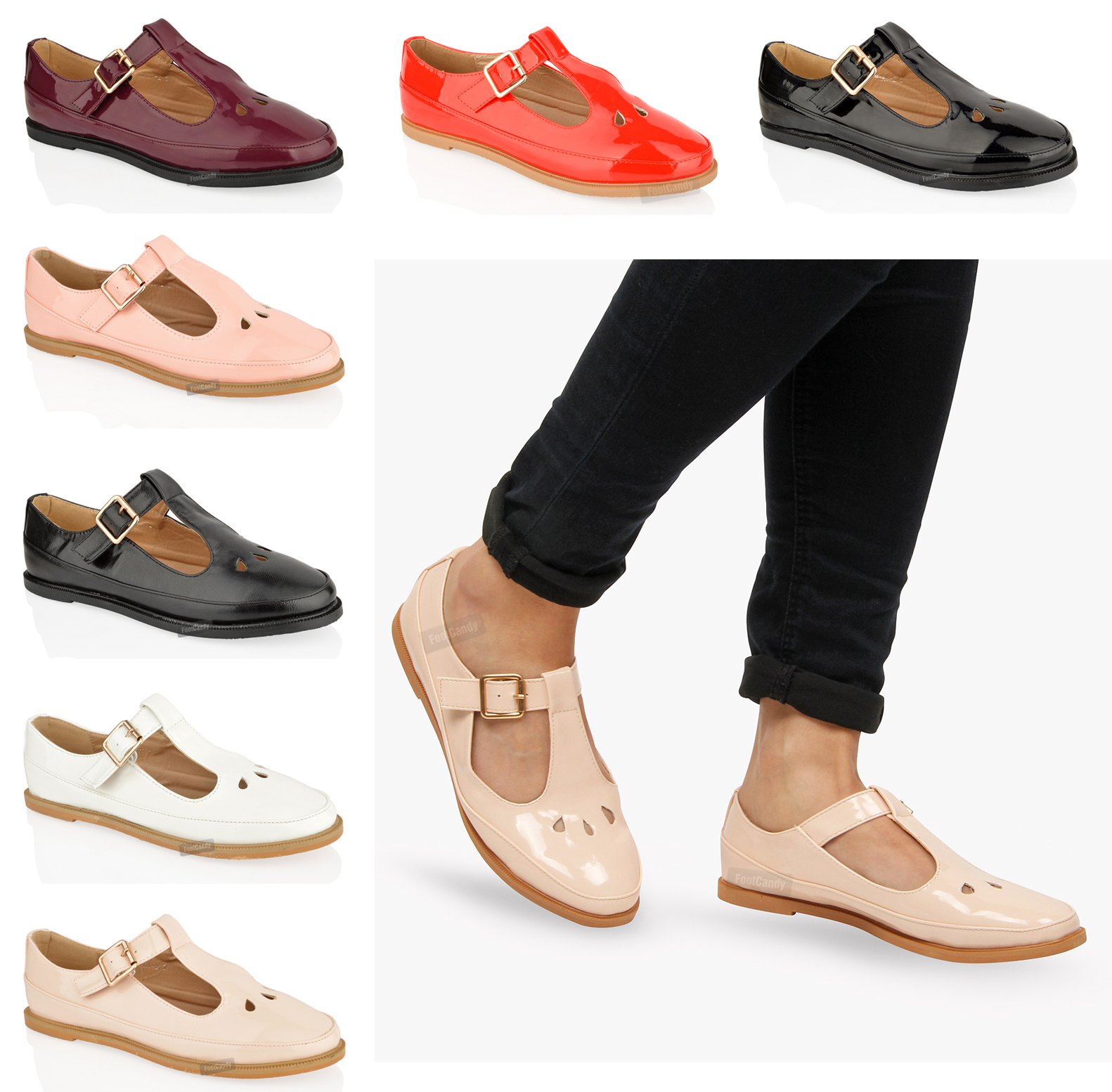 WOMENS-LADIES-FLAT-CUT-OUT-MARY-JANE-T-BAR-GEEK-PUMPS-BLACK-PATENT-SHOES-SIZE