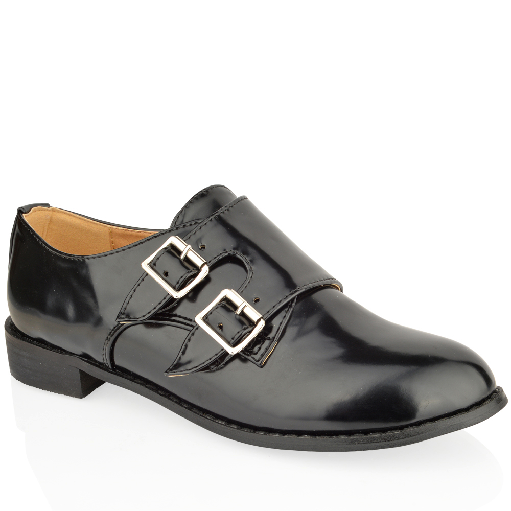 WOMENS-LADIES-FLAT-LOAFERS-DOUBLE-BUCKLE-MONK-STRAP-WORK-OFFICE-BLACK-SHOES-SIZE