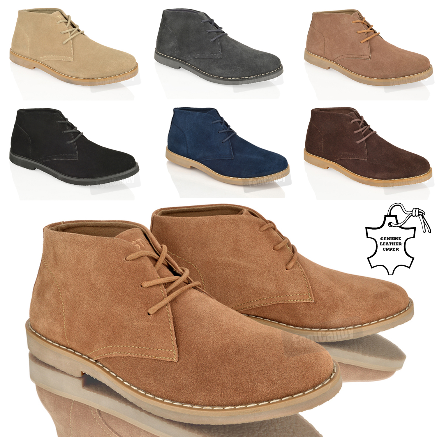 MENS BOYS ANKLE CHUKKA DESERT SUEDE LEATHER LACE COMFORT WORK ...