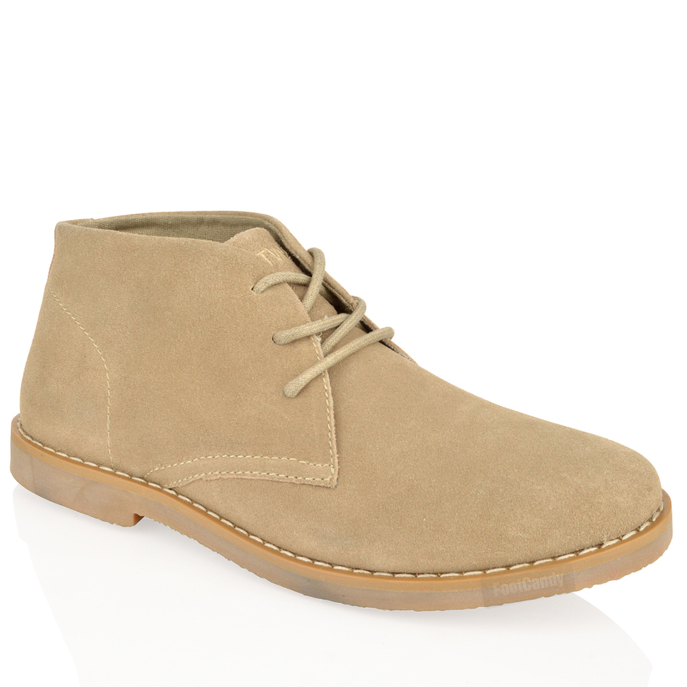 mens boys ankle chukka desert suede leather lace comfort