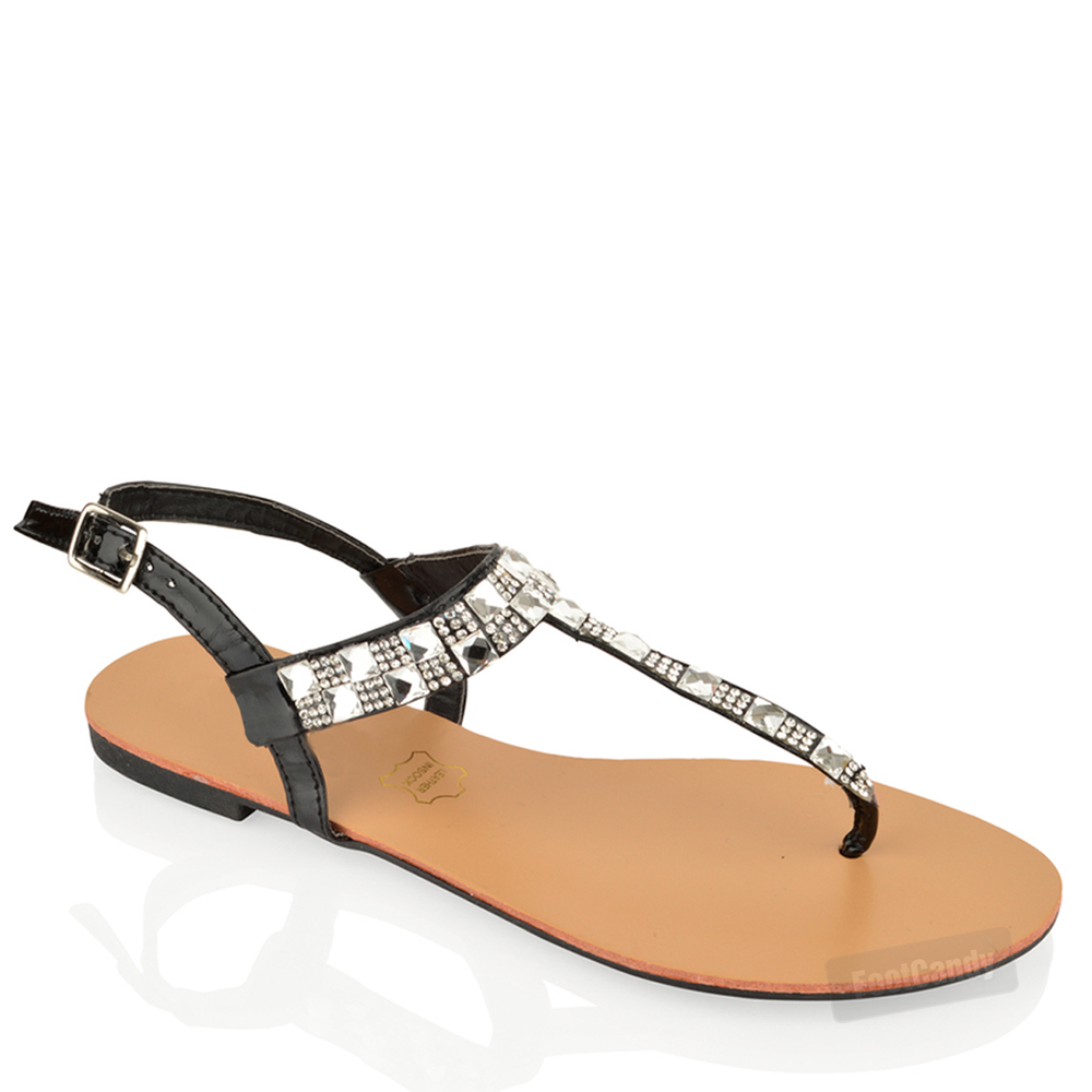 WOMENS-LADIES-FLAT-DIAMANTE-T-BAR-TOE-POST-ANKLE-STRAP-SUMMER-BEACH-SANDALS-SIZE