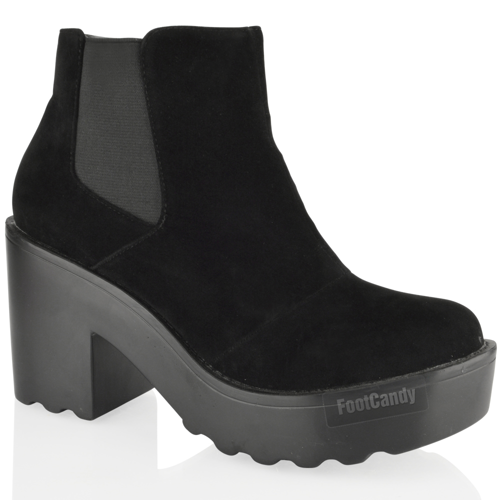 WOMENS-LADIES-CHUNKY-CLEATED-BLOCK-HEEL-PLATFORM-CHELSEA-ANKLE-BOOTS-SHOES-SIZE
