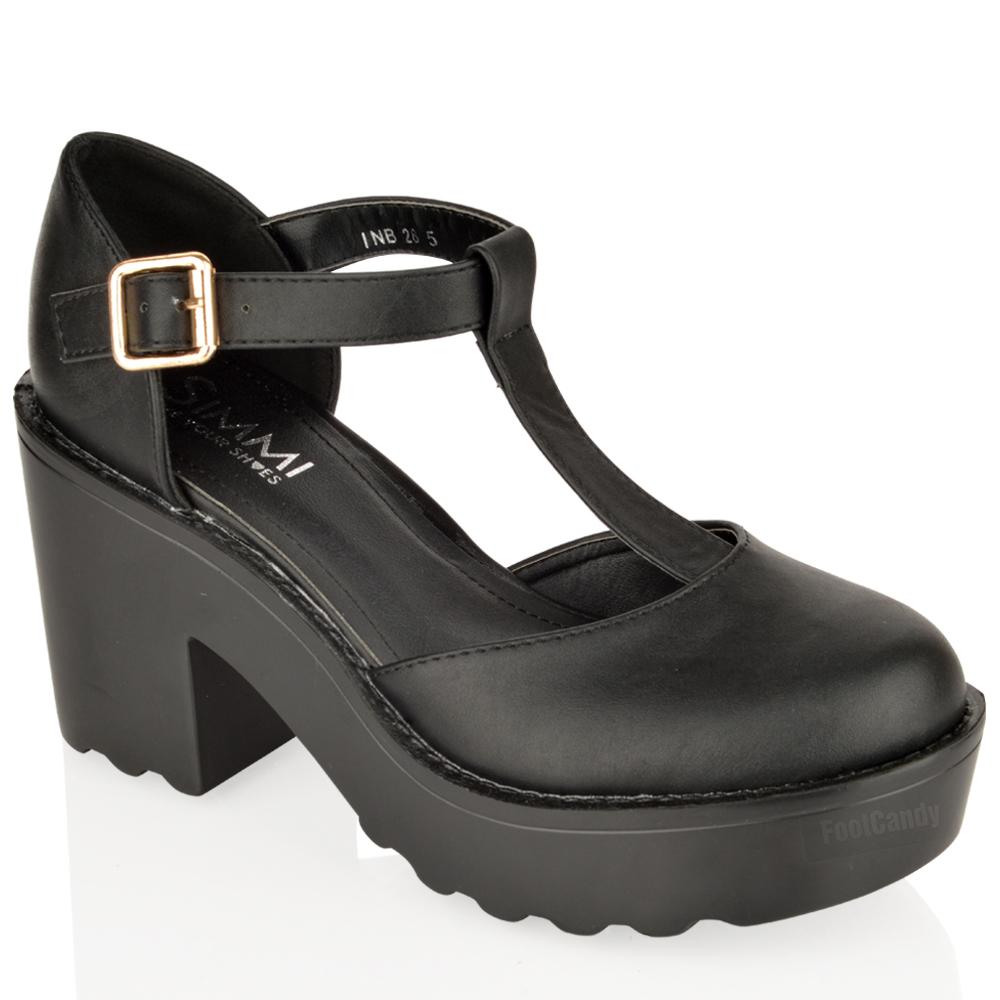 WOMENS-LADIES-BLOCK-HEEL-CHUNKY-PLATFORM-CLEATED-T-BAR-MARY-JANE-SHOES-SIZE