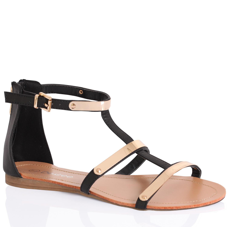Black sandals holiday - Womens Ladies Flat Gladiator Diamonte Toe Post Summer