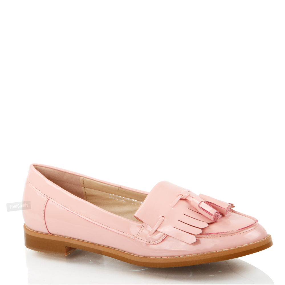 Womens Las Flat Casual Office Patent Faux Leather Fringe Tel