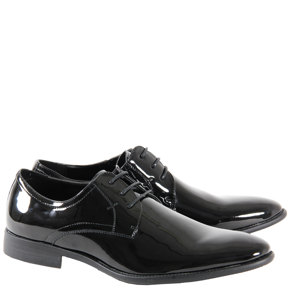 MENS BOYS CASUAL FORMAL LACE UP BLACK PATENT OFFICE WORK SHOES SIZE