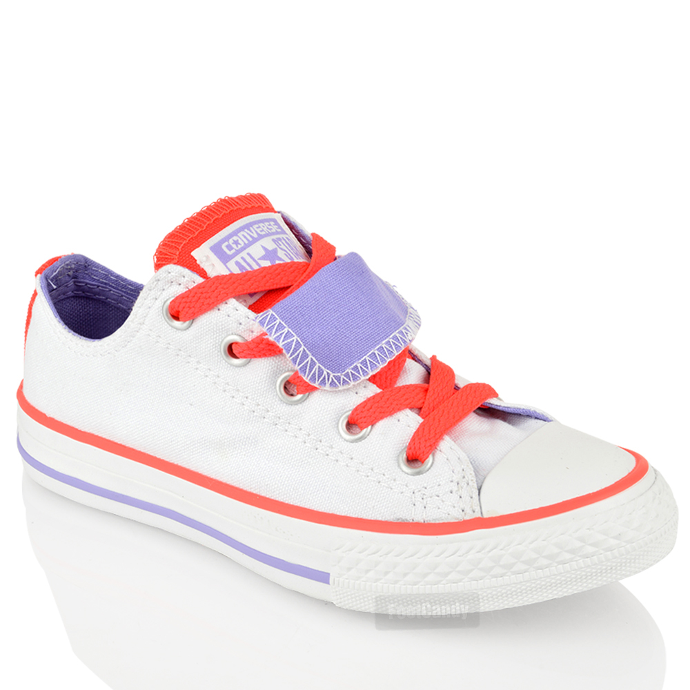 KIDS-JUNIOR-CONVERSE-ALL-STAR-642904-DOUBLE-TONGUE-LO-TOP-TRAINERS-SHOES-SIZE