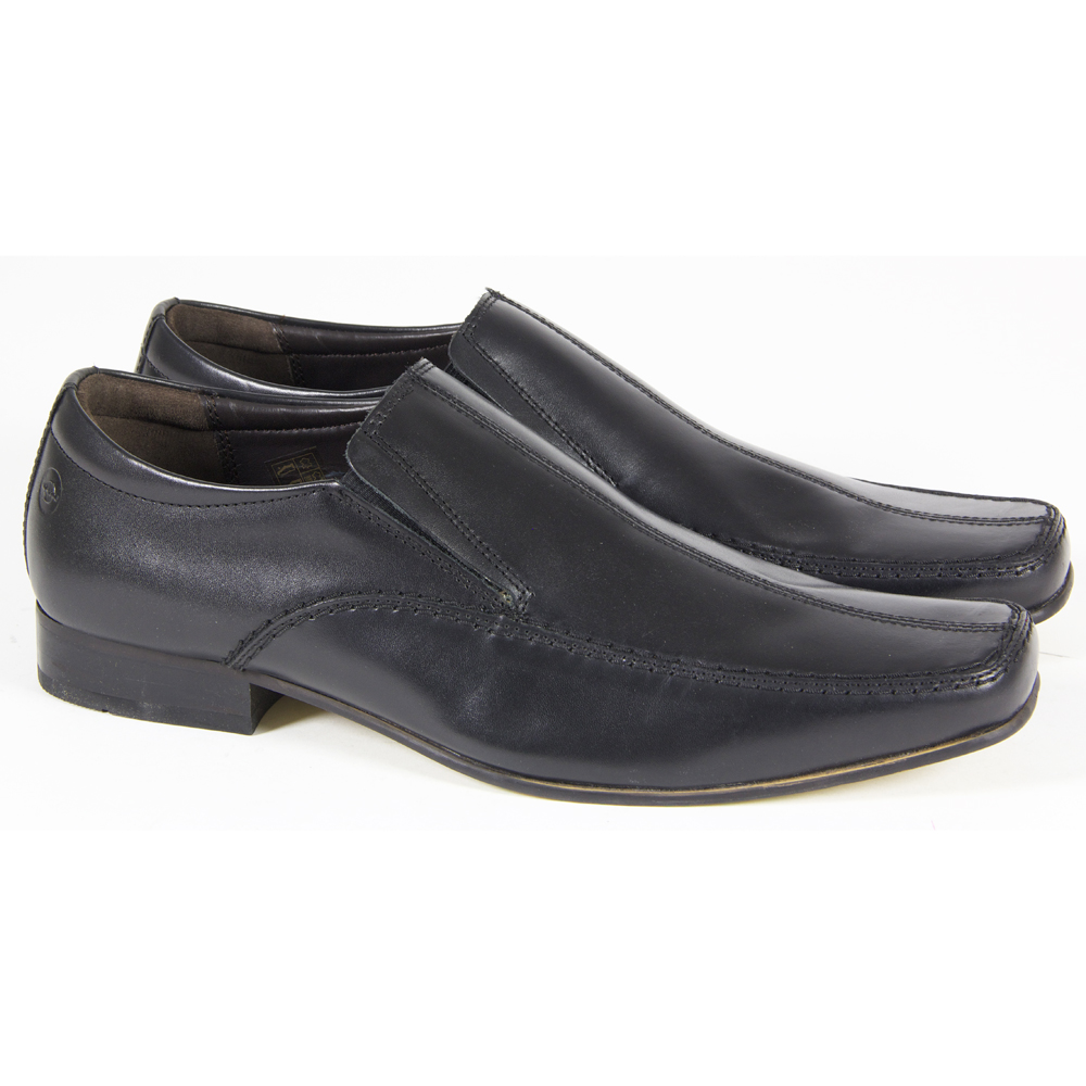 mens leather formal casual slip on gusset office work
