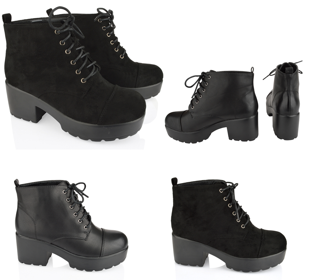 Popular  Island  River Island Chunky Lace Up Work Boots Black Shoes For Women
