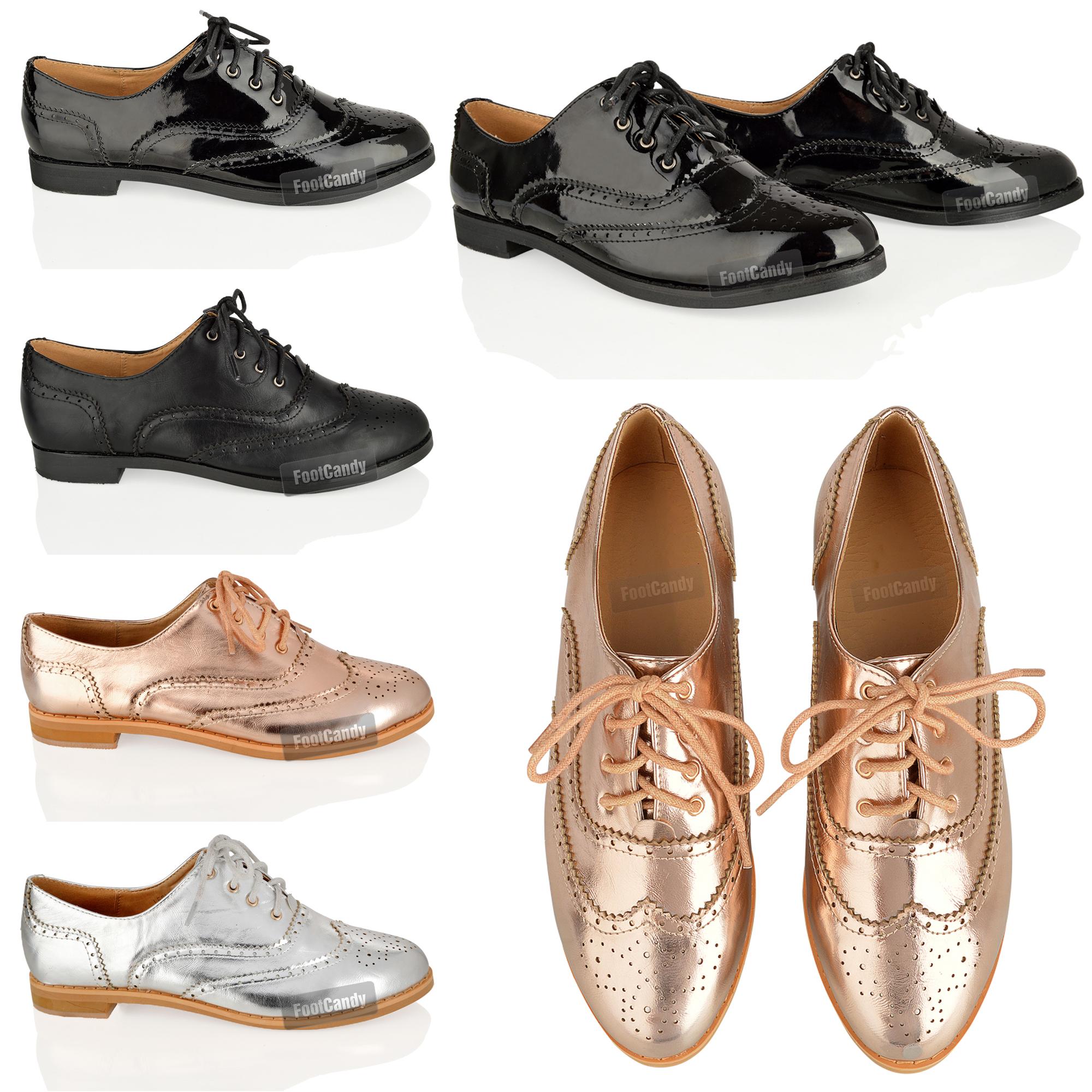 femme lacet plat sport habill e bureau vintage chaussure de ville richelieu noir ebay. Black Bedroom Furniture Sets. Home Design Ideas