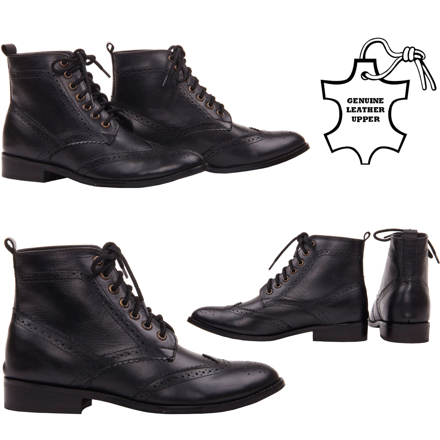 womens ladies casual leather lace up office brogue smart ankle boots shoes size ebay. Black Bedroom Furniture Sets. Home Design Ideas