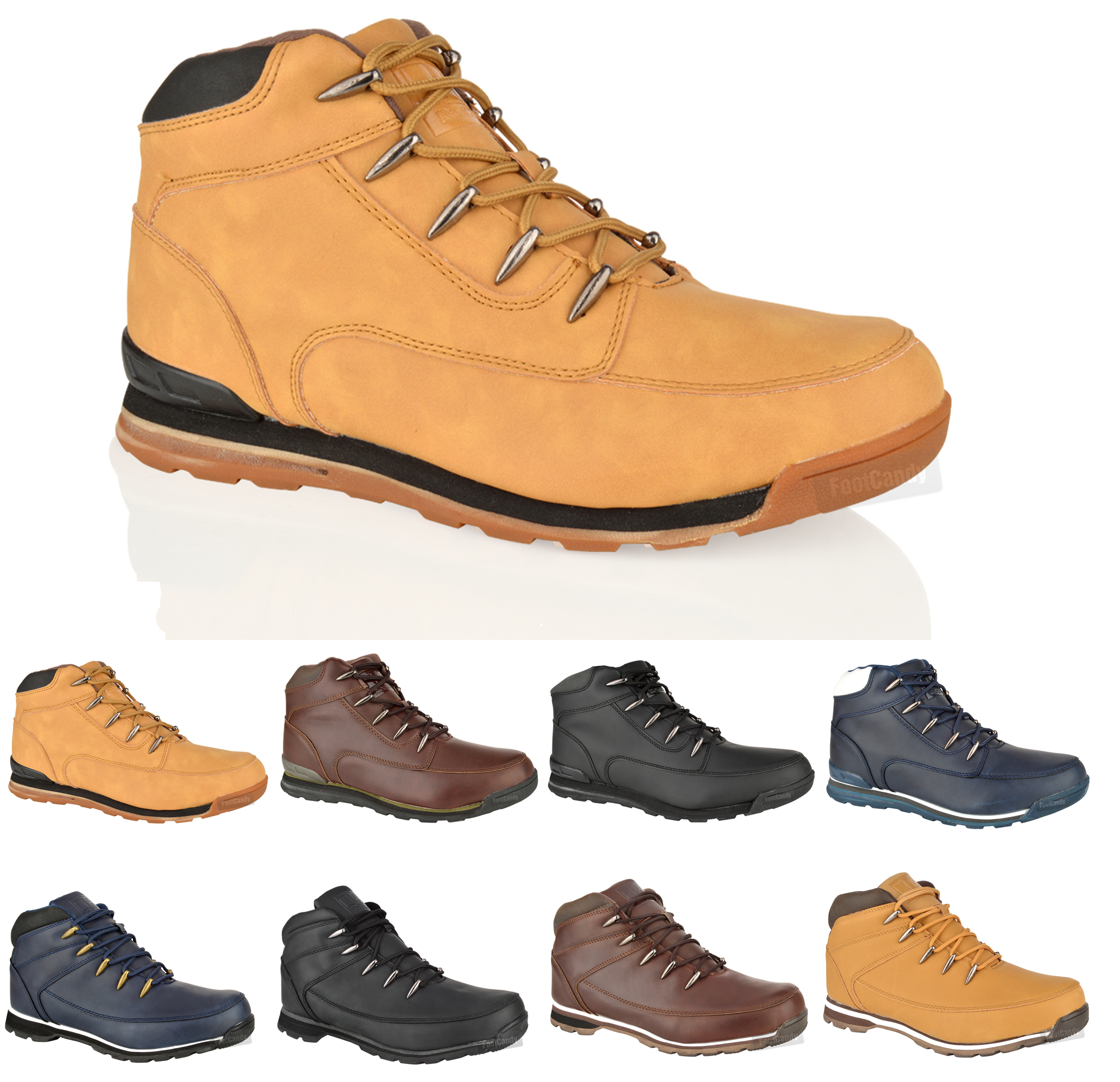 mens boys casual lace up comfort hiking walking work ankle