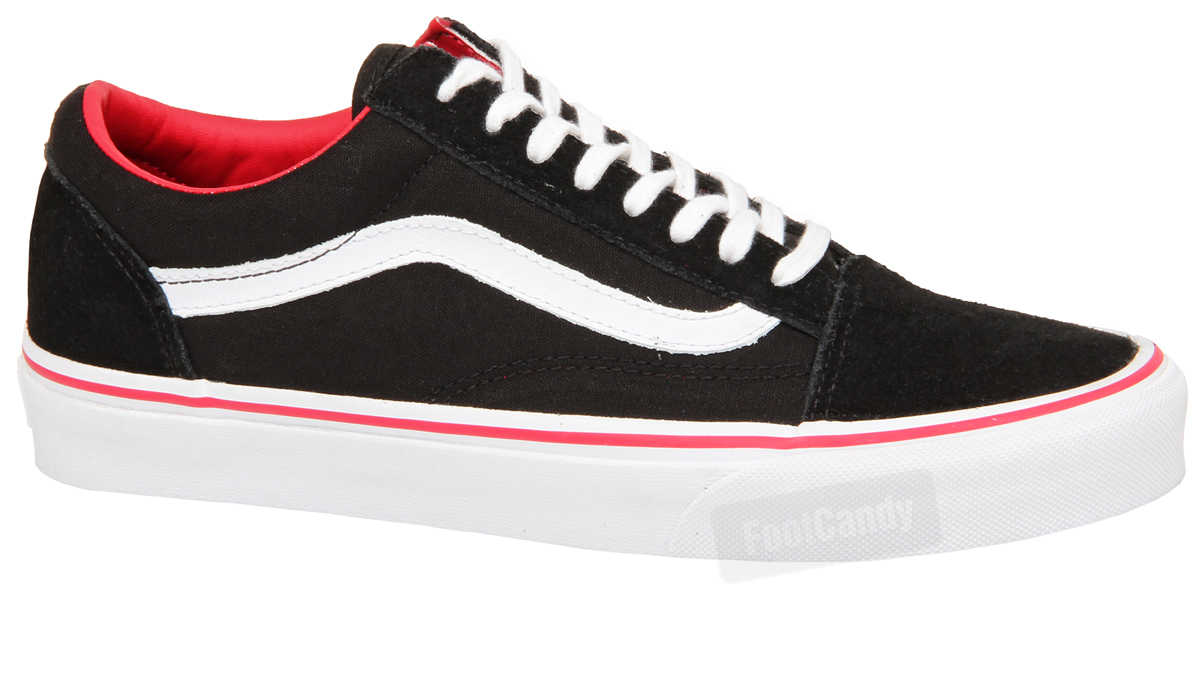 red and white old skool vans with black