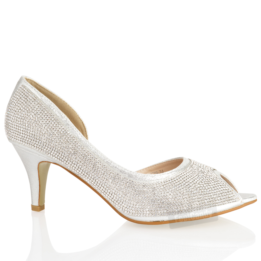 WOMENS LADIES LOW KITTEN HEEL GLITTER DIAMANTE PEEP TOE