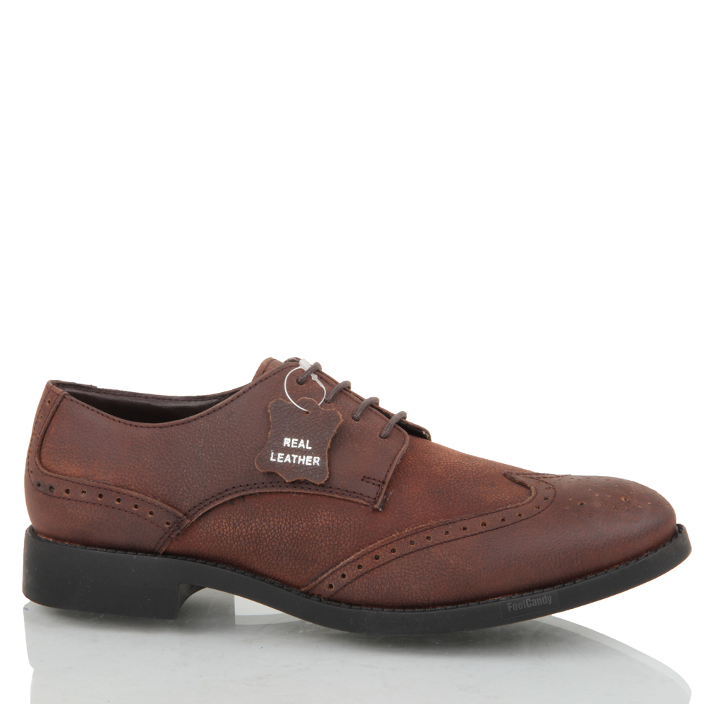 mens boys leather casual formal lace up brogue office work