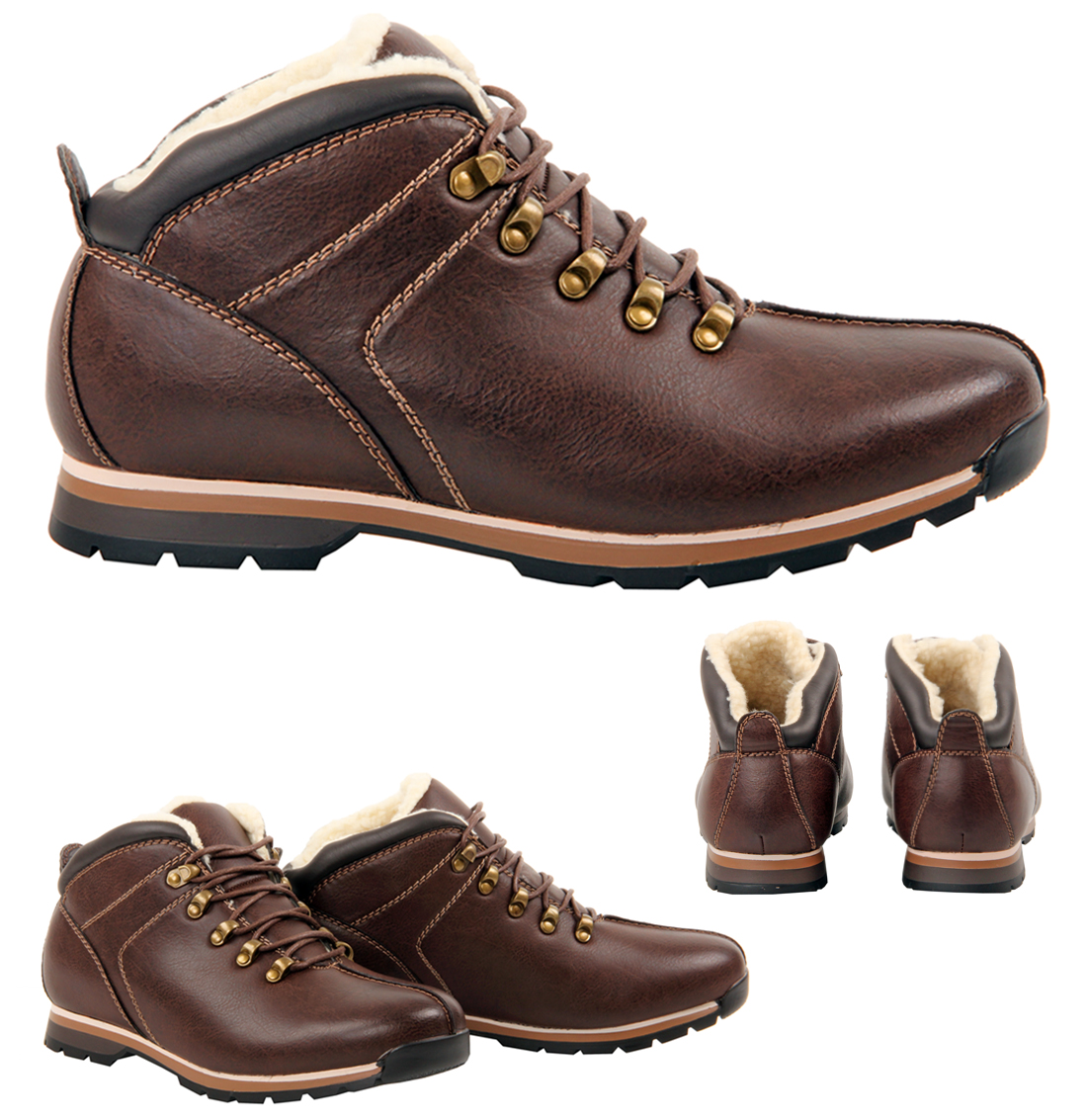 mens boys casual fur lined lace up winter ankle brown