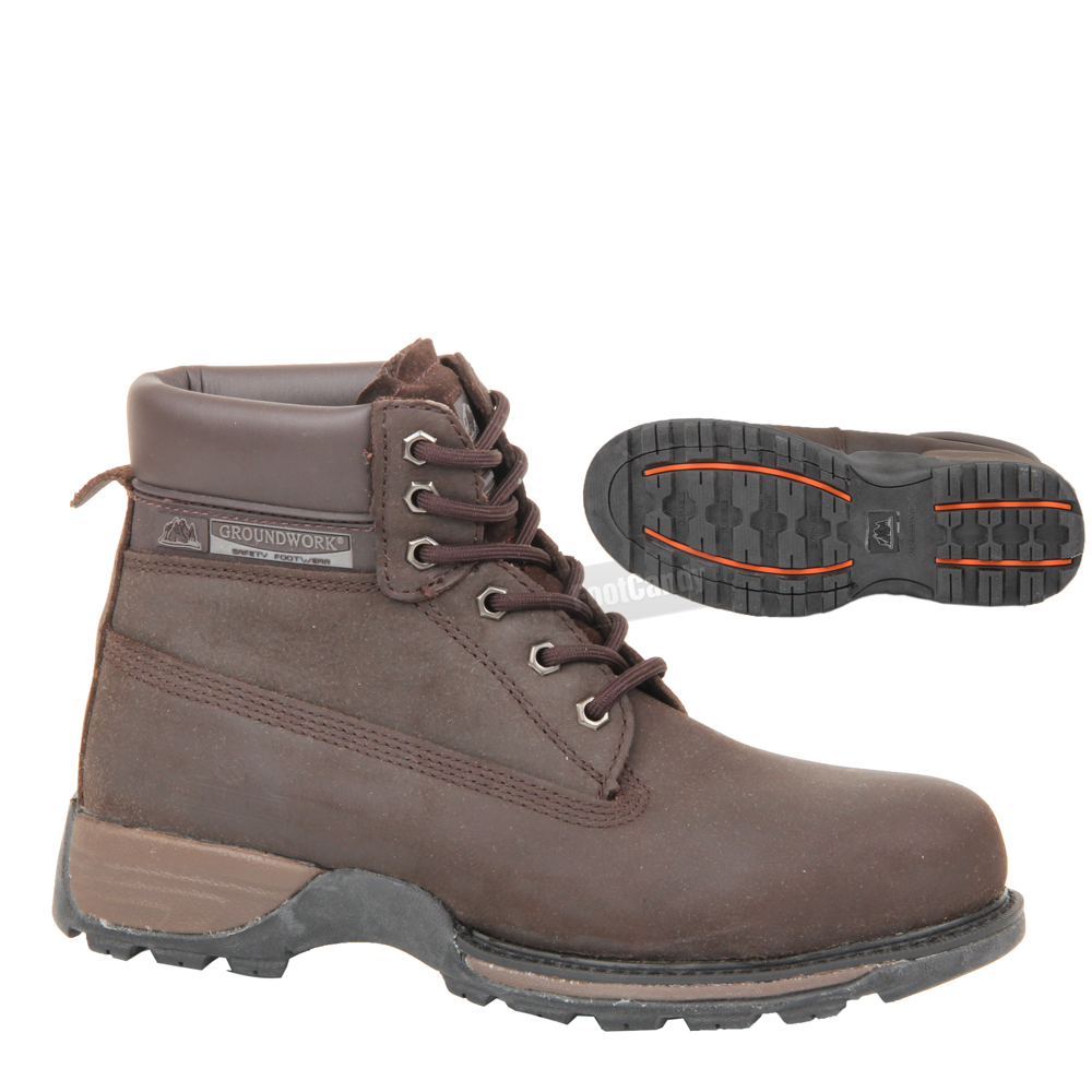mens groundwork lace up safety steel toe work ankle