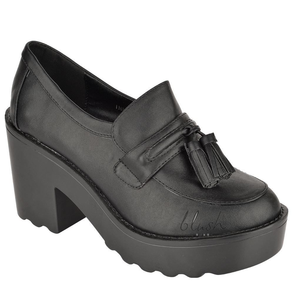 Womens ladies slip tassel chunky platform cleated heel office work shoes size