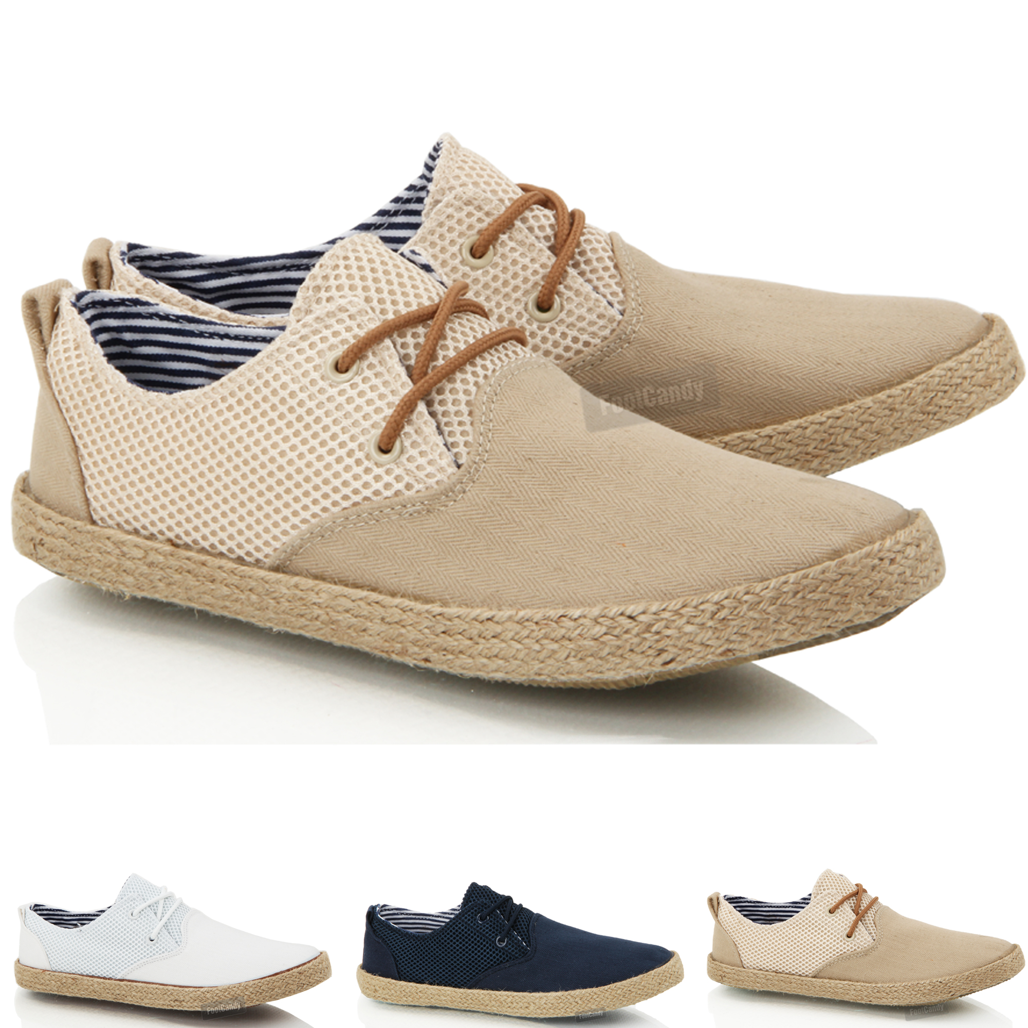Mens boys casual lace smart canvas mesh espadrilles jute ...