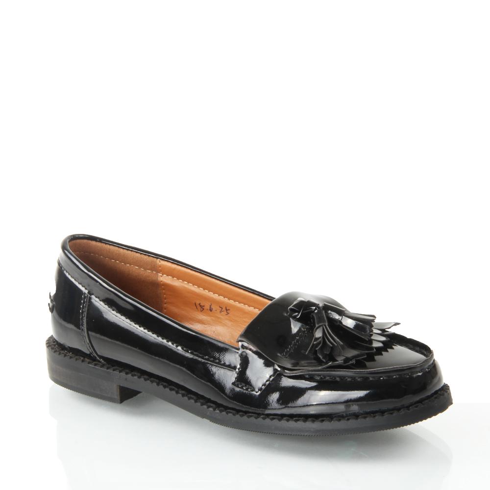 Black Shiny Slip On Shoes