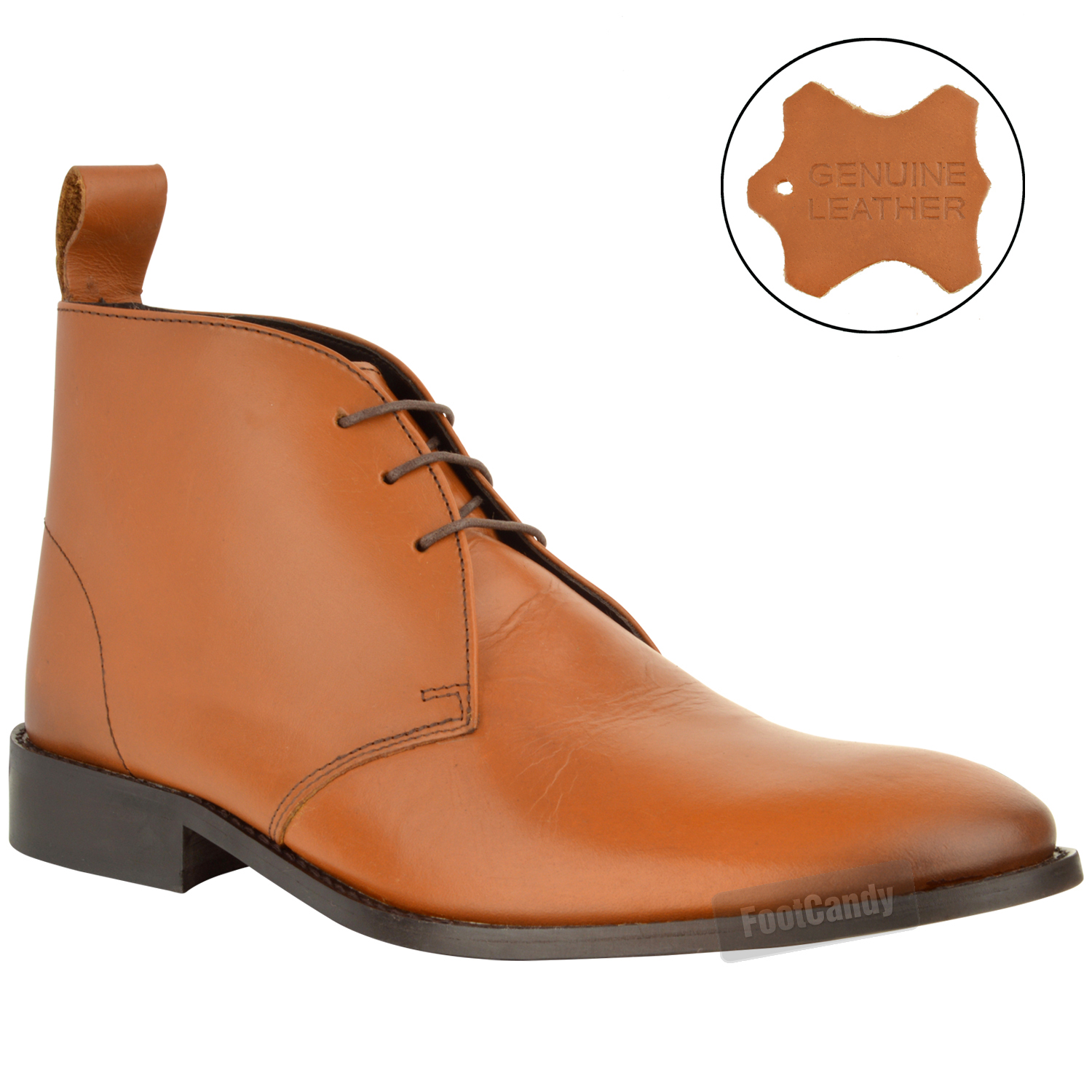 mens real leather chukka lace up formal ankle boots