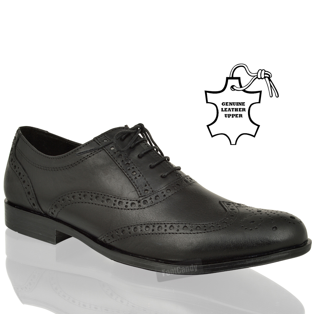 mens boys leather lace brogue oxford comfort