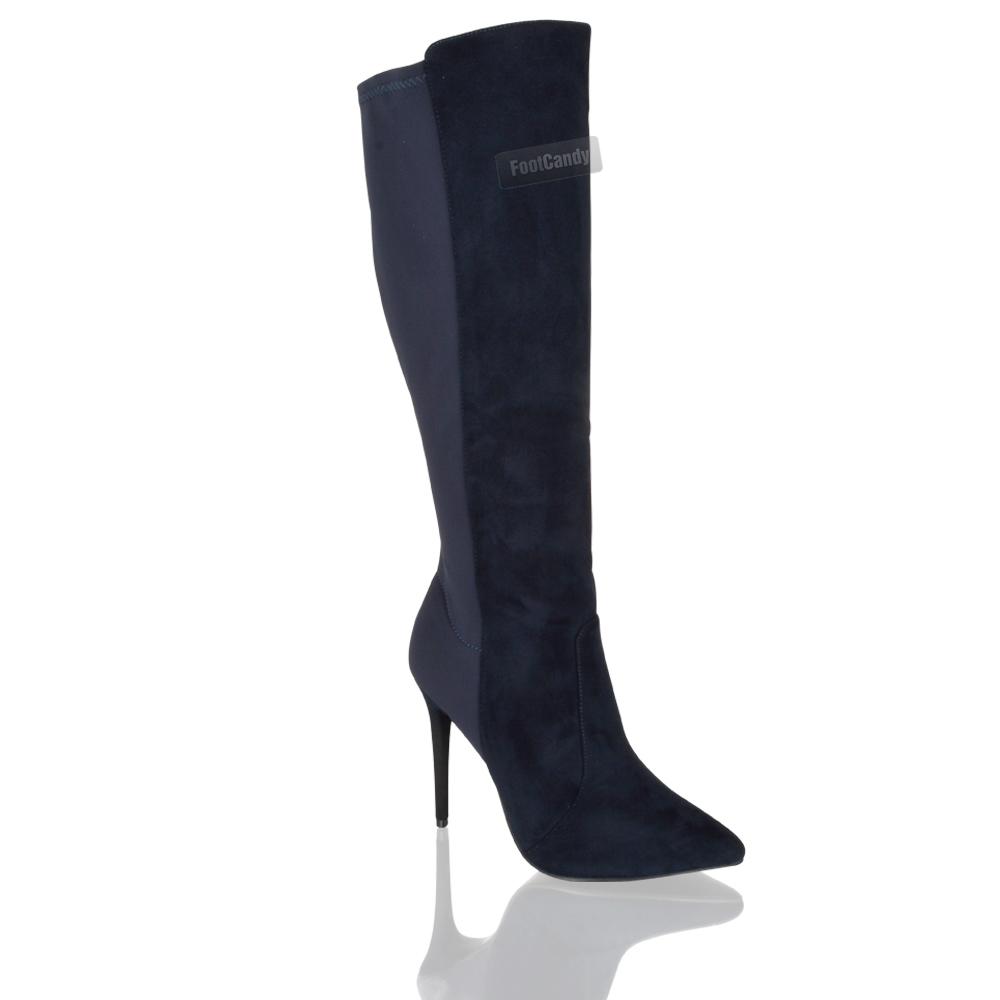 womens knee high stiletto zip calf winter formal