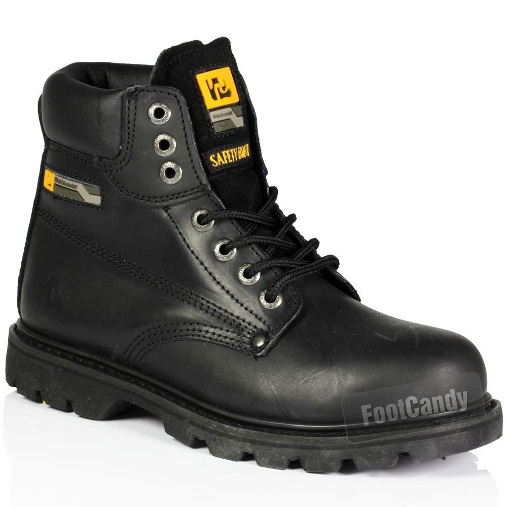mens walklander leather lace up safety steel toe blackn