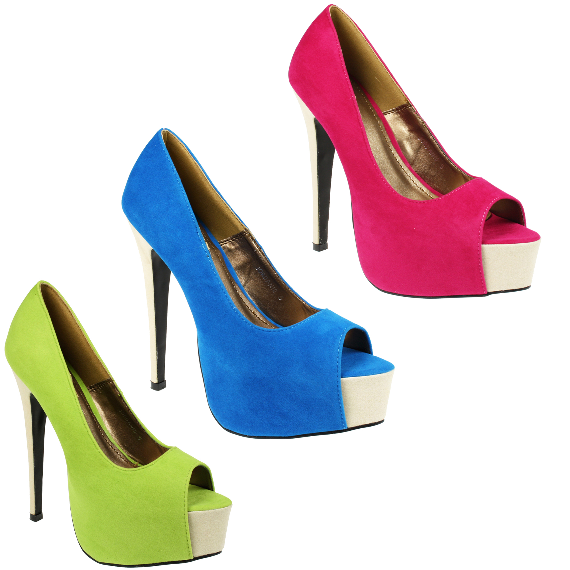 WOMENS LADIES FASHION HIGH STILETTO HEEL PLATFORM PEEPTOE COURT SUEDE SHOES SIZE