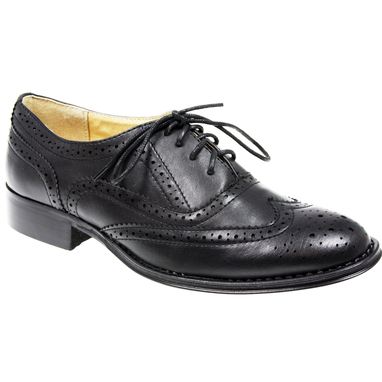 WOMENS LADIES LACE UP FLAT OFFICE FORMAL SCHOOL OXFORD ...