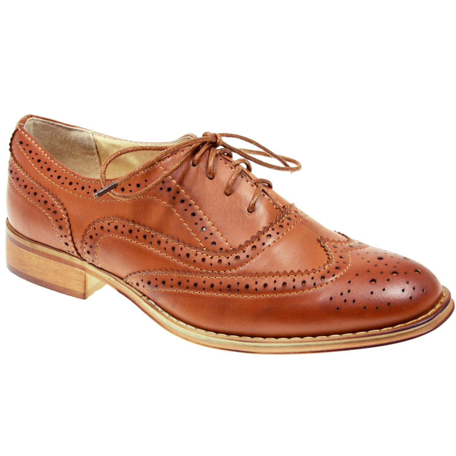 WOMENS-LADIES-LACE-UP-FLAT-OFFICE-FORMAL-SCHOOL-OXFORD-BROGUE-BLACK-TAN-SHOES