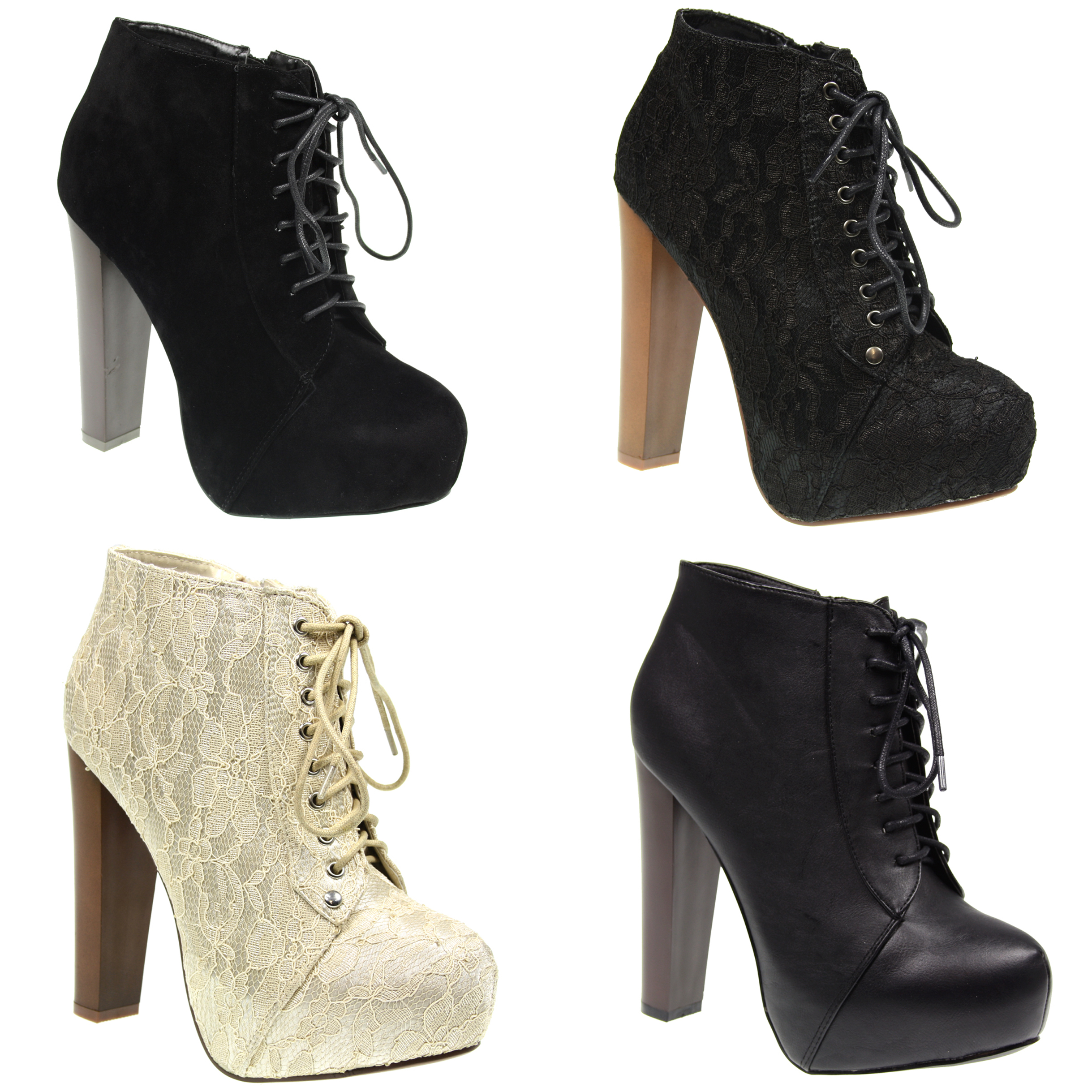 Heel Boots Lace Up