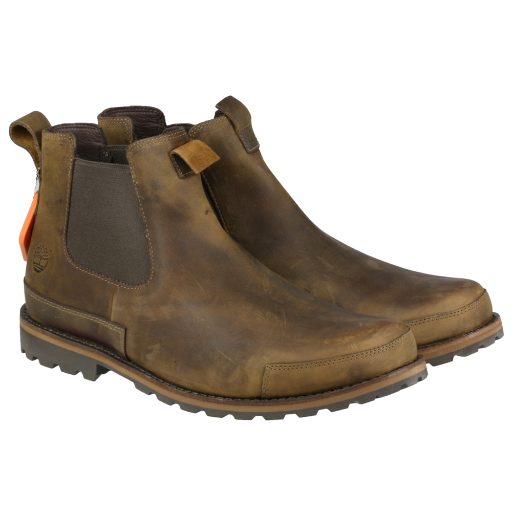 mens timberland 74141 rugged brown slip on leather gusset