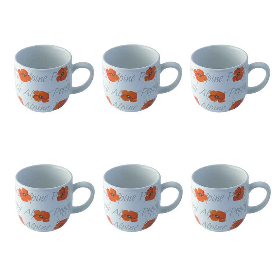 Rayware alpine poppy hug coffee mug cup strong fine for Alpine cuisine coffee cups